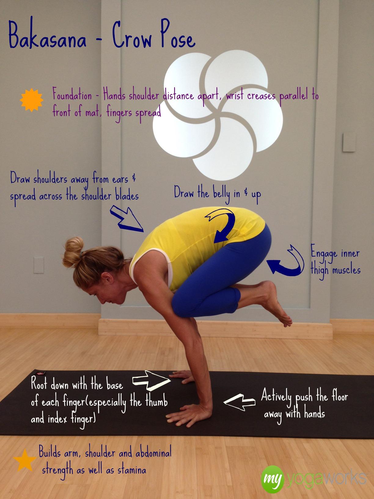 bakasana crow yoga pose and yoga videos online by MyYogaWorks